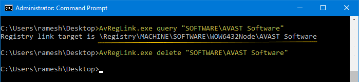 delete avast software registry key