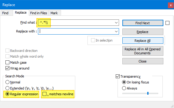 notepad++ remove path from file name
