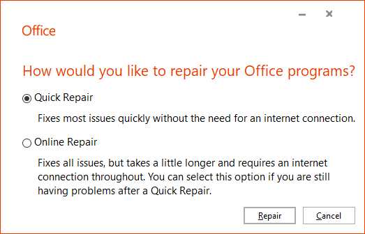 word .docx and .doc files show generic white icon - repair office