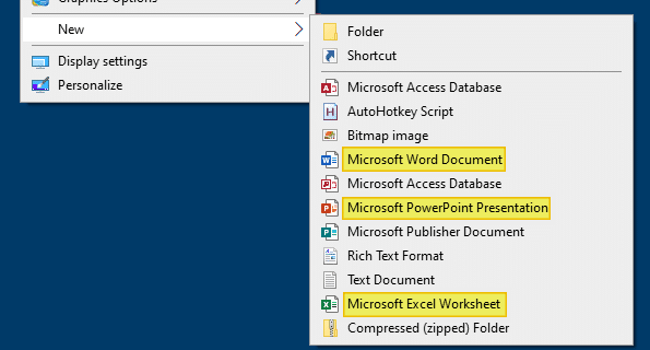 office shellnew new word excel document
