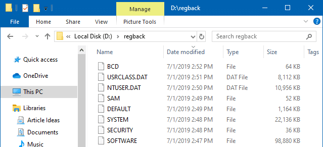 completely backup windows 10 registry hives - reg.exe save command-line