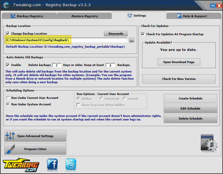 How to Completely Backup the Registry Automatically in