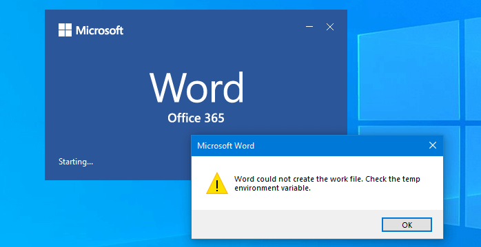 Fix: Word could not create the work file when Opening Word