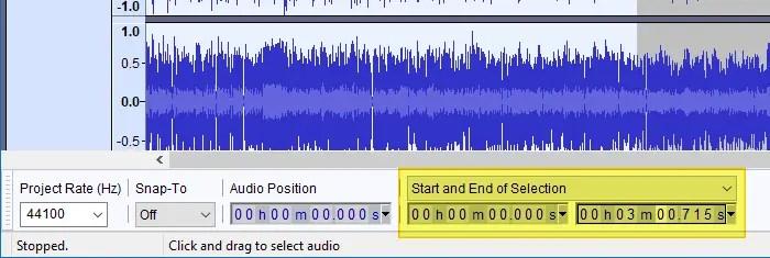 exportar o áudio selecionado do vídeo mp4 usando o audacity