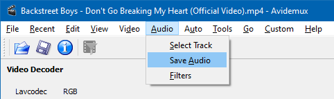convert mp4 to mp3 offline - extract audio from video - avidemux