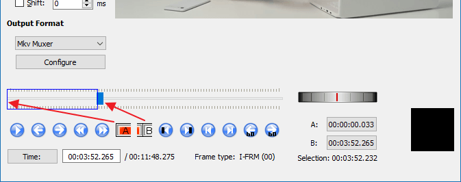 export selected audio from mp4 video using avidemux