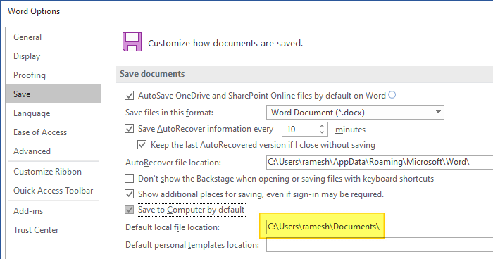 office documents default save location