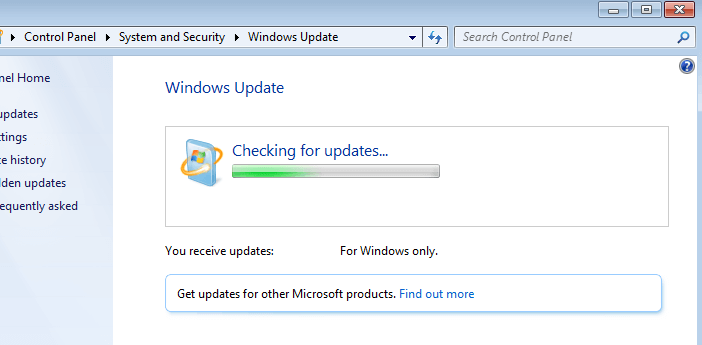 windows 7 hangs check for updates
