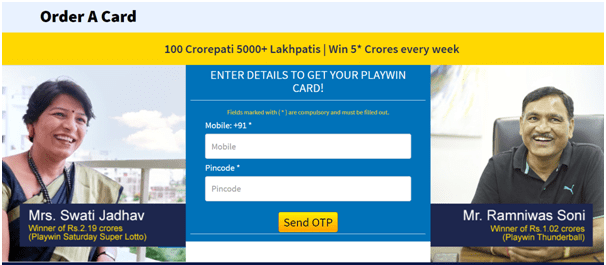 How to order playwin card to play Jaldi 5 lottery