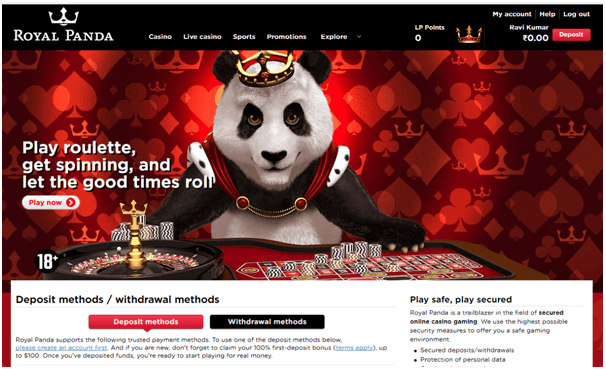 Royal Panda Casino- Banking