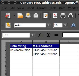 Convert MAC Address In MS Excel Or OO Spreadsheet