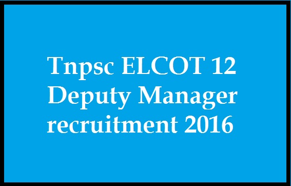 Tnpsc ELCOT Information Technology Department 12 Deputy Manager recruitment 2016