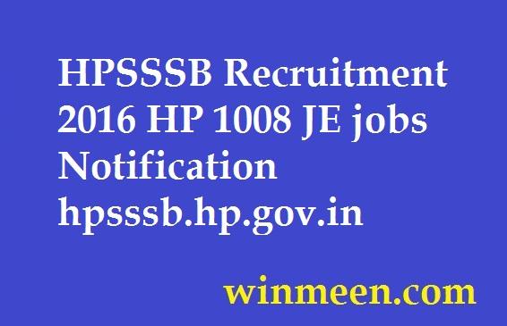 HPSSSB Recruitment 2016 HP 1008 JE jobs Notification