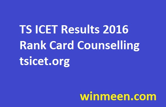 TS ICET Results 2016 Rank Card