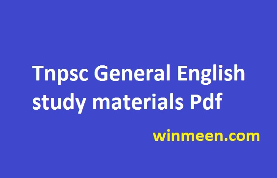 Tnpsc General English Study Materials Pdf Model Questions With