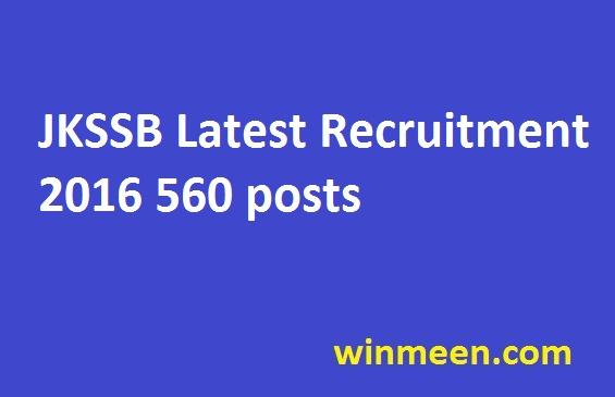 JKSSB Latest Recruitment 2016 560 posts