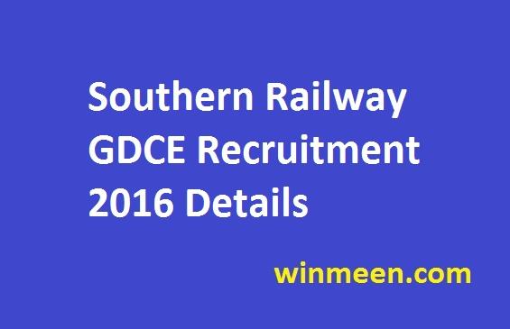 Southern Railway GDCE Recruitment 2016 Details