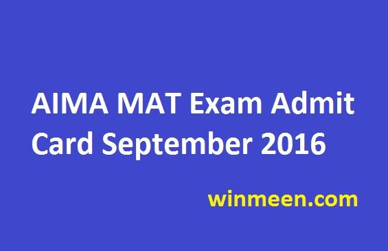 AIMA MAT Exam Admit Card September 2016