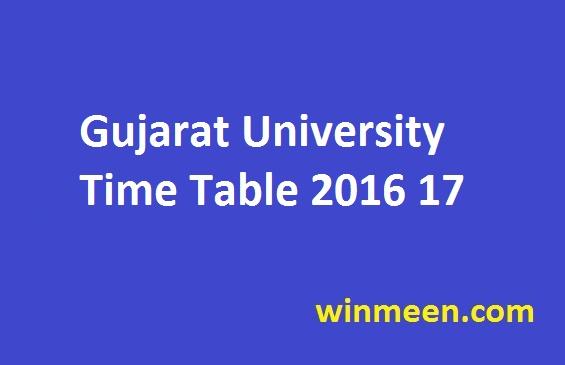 Gujarat University Time Table 2016 17