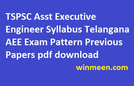 TSPSC Asst Executive Engineer Syllabus Telangana AEE Exam Pattern Previous Papers pdf download