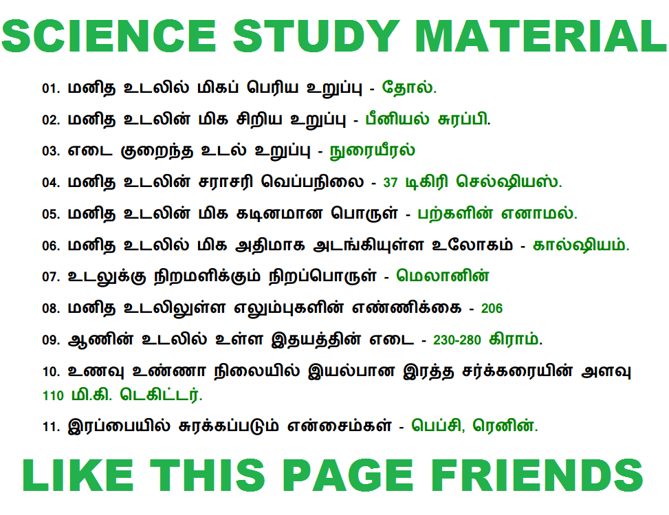 TNPSC GROUP 1 EXAM 2018 - GENERAL SCIENCE STUDY MATERIALS, TNPSC