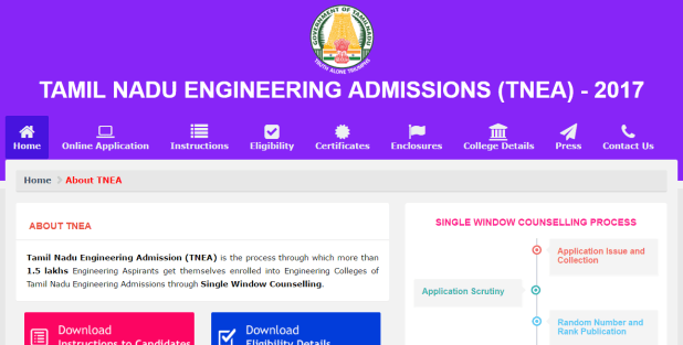 TNEA BE BTECH ENGINEERING ADMISSION 2017