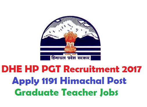 DHE HP PGT Recruitment 2017 Apply 1191 Himachal Post Graduate Teacher Jobs