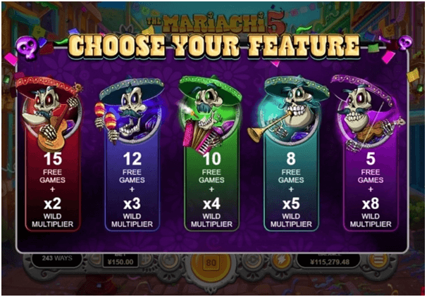 Mariachi 5 slot game features
