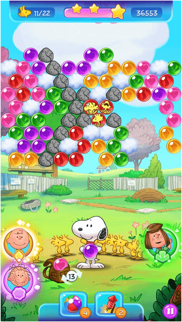 Get free lives in snoopy pop game
