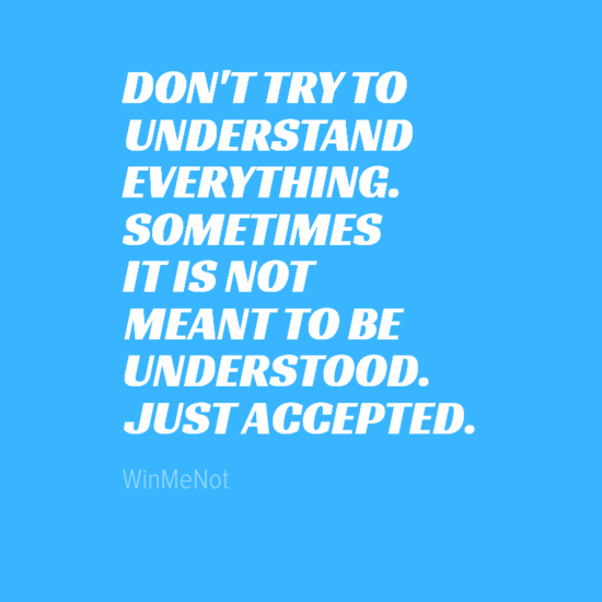 DON'T TRY TO UNDERSTAND EVERYTHING. SOMETIMES IT IS NOT MEANT TO BE UNDERSTOOD. JUST ACCEPTED.