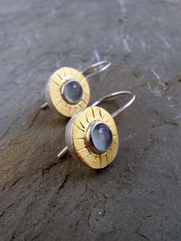 Gem Earrings/Gold/Aquamarine