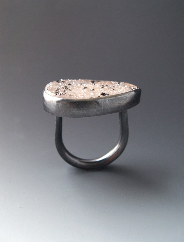 Dotted Pear Druzy Ring