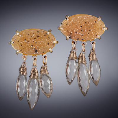 Apricot Druzy Earrings