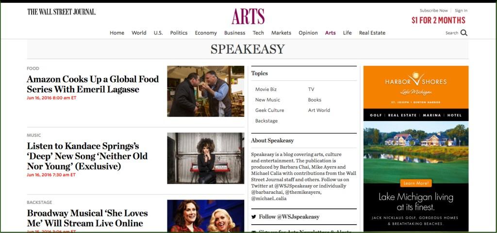 WSJ Speakeasy blog