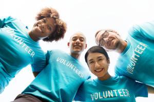 Volunteers working together