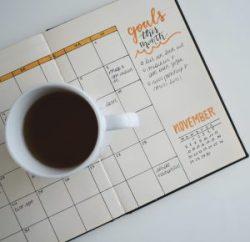 Calendar with goals