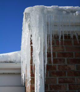 Ice in gutters