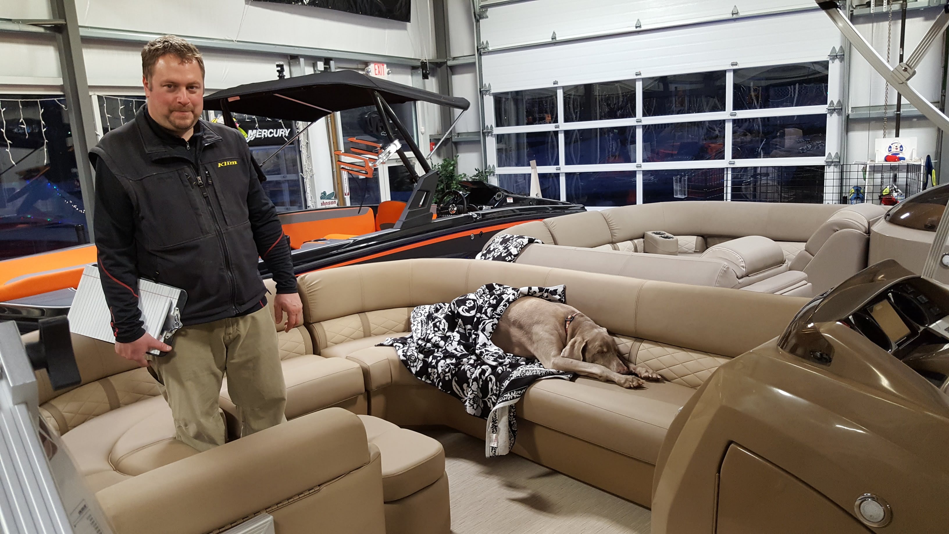 02 02 18 Duke Was Checking Out The New Seats In The 2018 Bennington Pontoon  Boats And They Are Soooo Comfortable That He Ended Up Taking A Little  Snooze !!