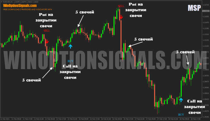 call and put by indicator for binary options MSP Indicator