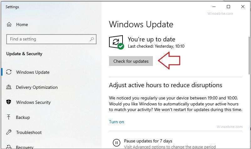Проверить наличие обновлений Windows