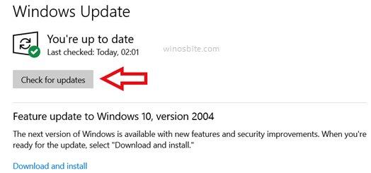 Проверить обновления в windows