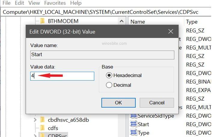 Редактор реестра cdpsvc dword value