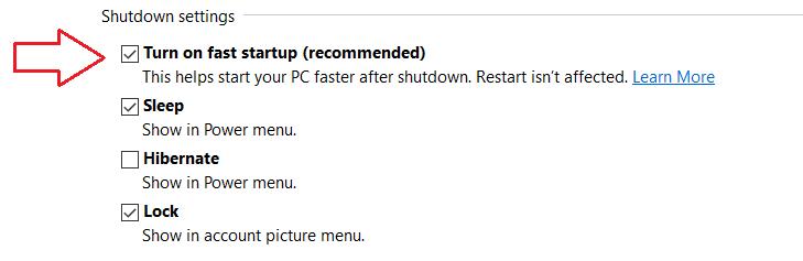 Включите быстрый запуск Windows 10
