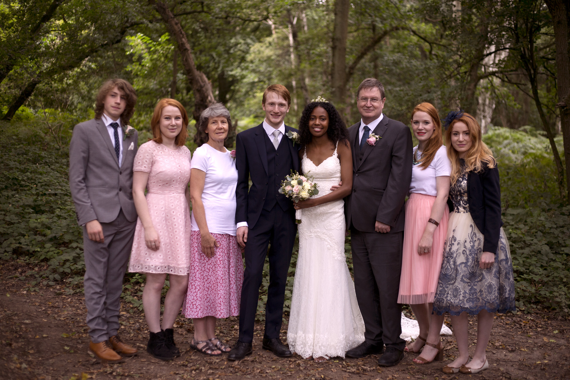 Grooms family portrait woodland wedding photographer