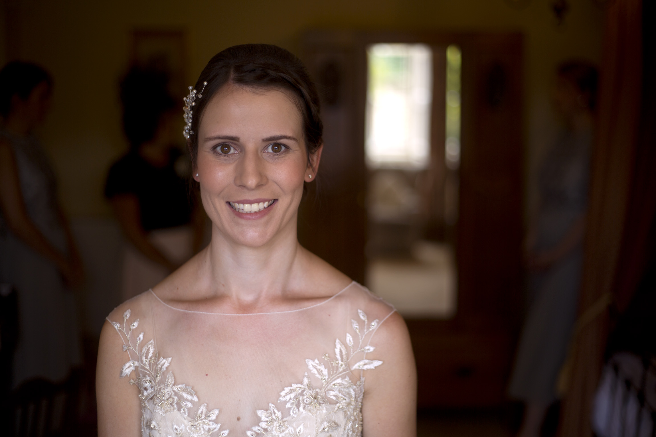 Smiling portrait of the bride lace dress Cripps barn outdoor wedding photographer
