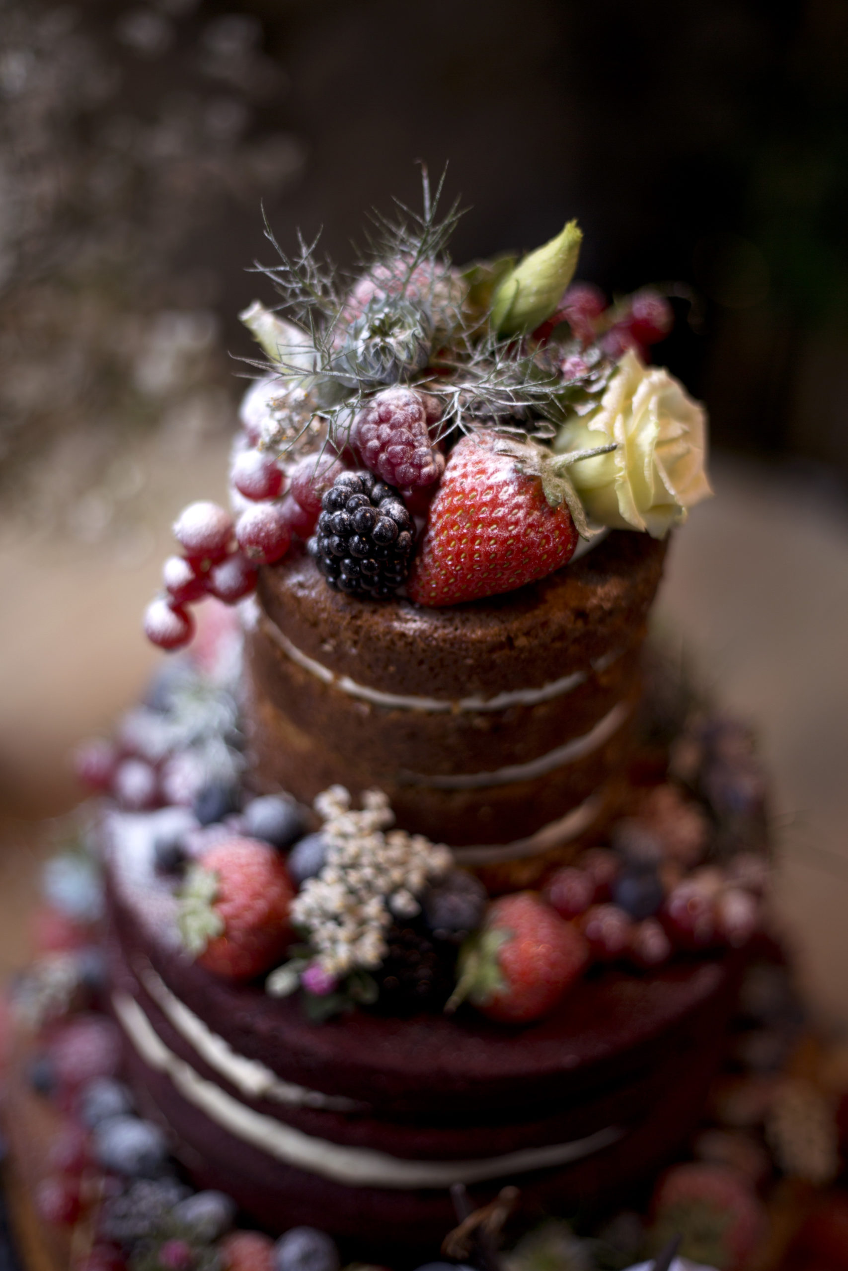 Strawberry and chocolate rose layered rustic wedding cake Cripps barn outdoor wedding photographer