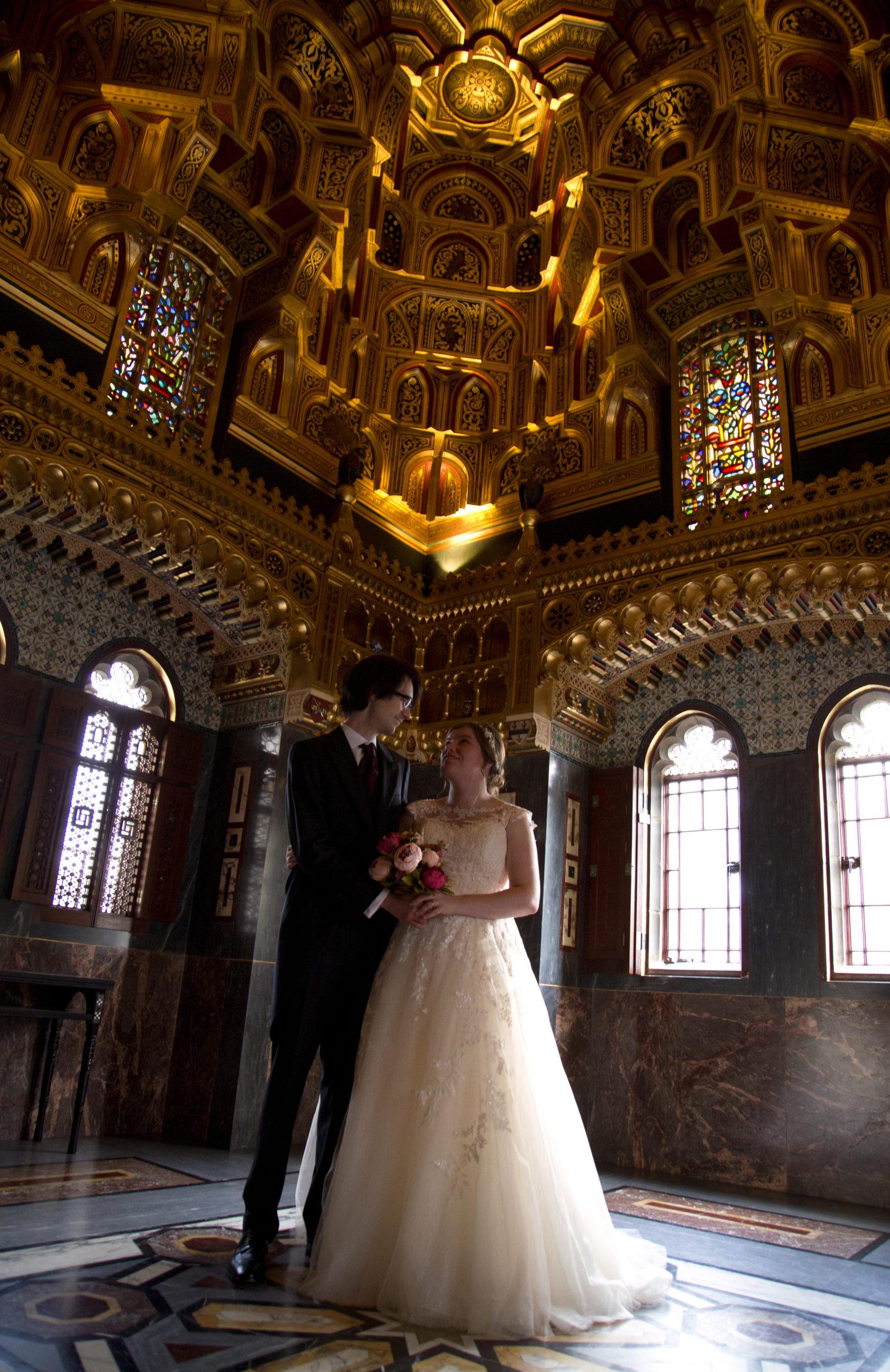Bride and groom portrait in Cardiff Castle Wedding Photographer St Teilos
