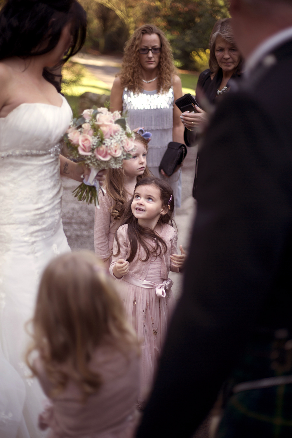 Flower girl with bride before ceremony Pencoed house estate wedding photographer Cardiff