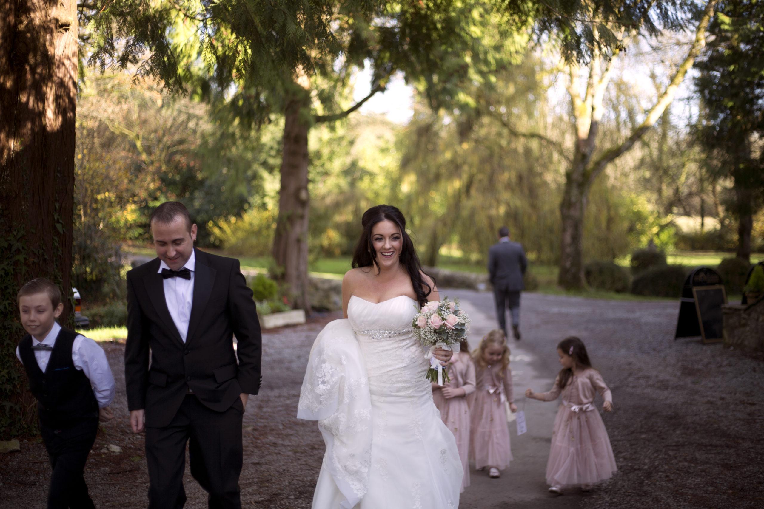 Bride walking to ceremony Pencoed house estate wedding photographer Cardiff
