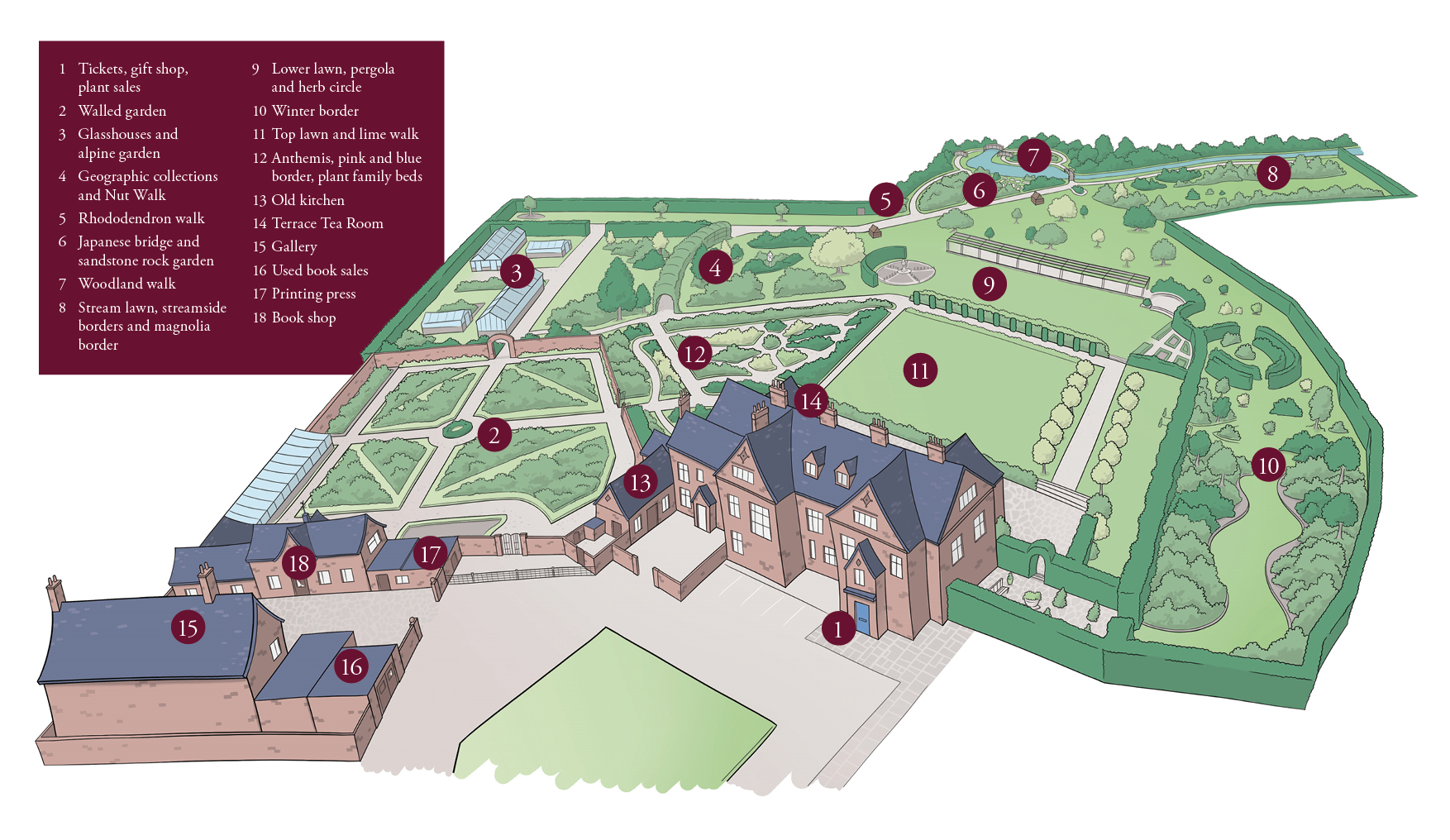 House Garden Map >> Map Of Winterbourne House Garden